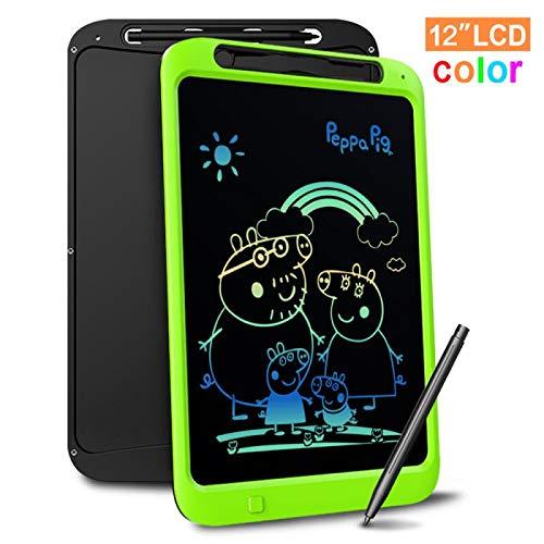 Richgv Bunte 12 Zoll LCD Writing Tablet mit Anti-Clearance Funktion und Stift, Digital Ewriter Grafiktabletts Mini Schreibtafel Papierlos Notepad Doodle Board für Kinder Über Jahre 3 (Grün)