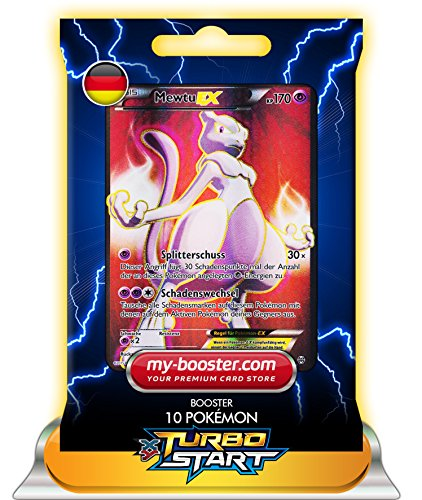 MEWTU EX FULL ART 158/162 170KP XY08 TURBOSTART - Booster mit 10 Deutsch Karten Pokemon my-booster (Mega-pokemon Mewtu-karte)