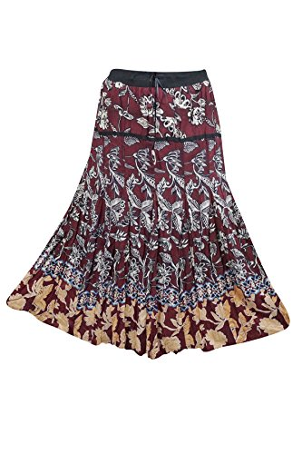 Indiatrendzs Women's Western Skirts Fit Flare Long Skirt Maroon Floral Cotton  available at amazon for Rs.467