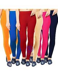 35d650c5cccc4 Klugger® Cotton Lycra Ankle Length Legging Combo Pack-6_Free Size (Orange, Blue