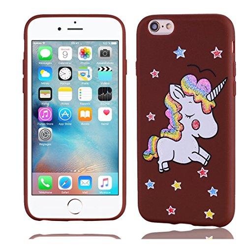 iPhone 6S / 6 Copertura,Modello variopinto di Bling del fumetto sveglio creativo Custodia protettiva della pelle in gomma sottile TPU Case per iPhone 6S / 6 4.7inch,Stelle Unicorn Marrone