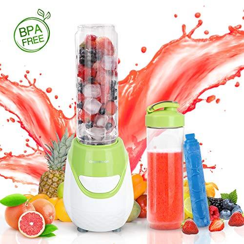 Aigostar Greenberry 30JHU - Batidora de vaso portátil, 600W, tubo refrigerante, incluye 2 vasos portátiles de Tritan de 600 ml y 2 tapas. Libre de BPA, color verde y blanco. Diseño exclusivo