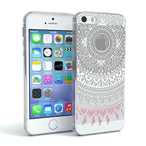 """Apple iPhone SE / 5S / 5 Hülle, EAZY CASE Cover """"Henna"""" - Premium Handyhülle mit Indischer Sonne - Transparente Schutzhülle in Blau / Pink Transparent Weiß / Rosa"""