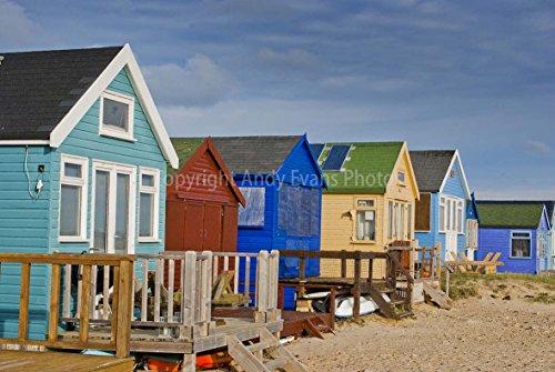 Foto ein 30,5 x 45,7 cm Hochwertiger Fotodruck der Strand Hütten hengistbury Head near Christchurch Bournemouth England Dorset UK Landschaft Foto Farbe Art Bild Print