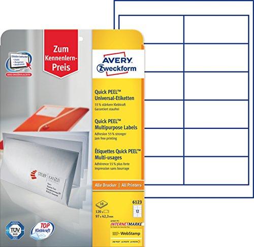 Avery Zweckform 6123 Adressetiketten (A4, Papier matt, 120 Etiketten, 97 x 42,3 mm) 10 Blatt weiß
