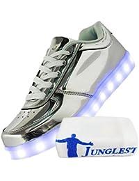(Present:kleines Handtuch)Silber 46 EU und mode Schuhe Herbst Paare USB 7 Winter laufende LED schuhe Farbe Erwachsene Herren JUNGLEST Freizeitschuhe Leuchtend Auf sFrEpxlOIv