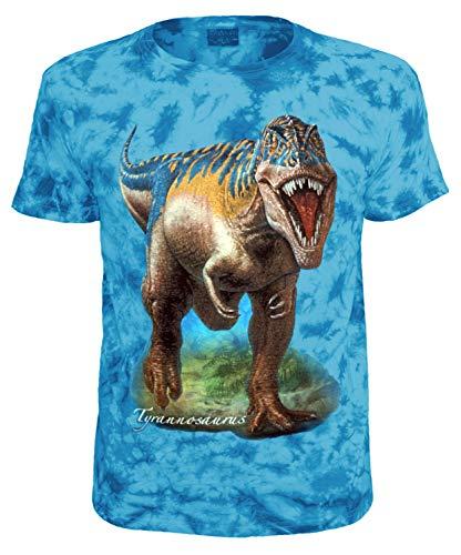 (Kinder T-Shirt Dinosaurier Tyrannosaurus T-Rex Shirt Blau Batik Größe 128)