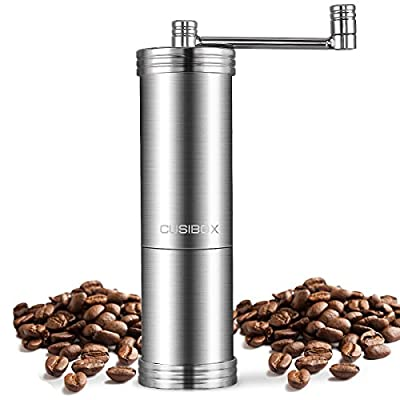 Manual Coffee Grinder with CUSIBOX Food-Grade Stainless Steel, Beans Spices Hand Coffee Grinder with Adjustable Conical Burr for Travel/Home from TOBOX