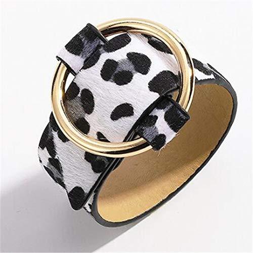 SDGH Moda Pulseras de brazalete de leopardo marrón de moda para mujer Botón de color dorado Boho Pulsera de cuero vintage Joyería punk de Navidad