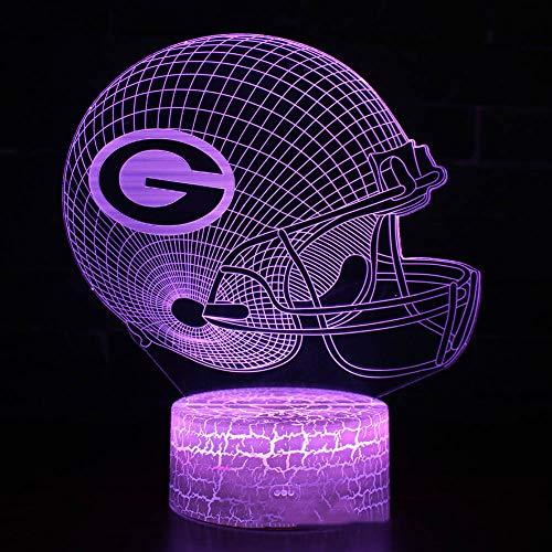 chtlicht Green Bay Packers Helm Lampe 7 Farbe Leuchtende Sportkappe Lampe Kreative Hause Tisch Schreibtisch Dekor Für Geschenk,3color+Touch ()