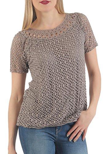 Malito Damen Top Perforiert | T-Shirt mit Löchern | Oberteil in Uni Farben - Rundhals - Kurzarm 5149 (Fango)