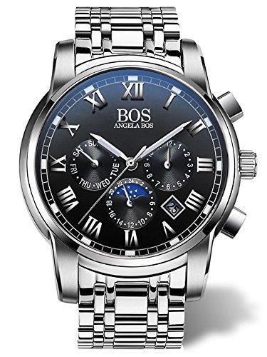Angela bos hombres reloj de pulsera de cuarzo de banda de acero inoxidable Cronógrafo Negro 8006