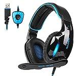 GT SADES SA902 USB Virtual 7.1 envolvente sonido Gaming Headset, Gaming auriculares con micrófono inteligente cancelación de ruido LED luz para PC y Mac(negro& azul)