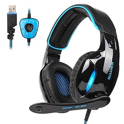 Sades Nouvelle version SA902 7.1 canaux Virtual USB Surround Sound Casque d'écoute pour PC Casque intra-auriculaire avec réverbération de micro Réglage du volume Effet de bruit LED Light (Noir / Bleu)