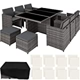 TecTake 403086 - Set di Mobili da Giardino Poli Rattan Arredamento, 6 Sedie 1 Tavolo 4 Sgabelli, Involucro Protettivo, Grigio