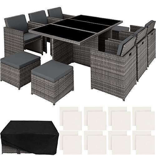 tectake 403086 Ensemble Salon de Jardin en Résine Tressée Poly Rotin Aluminium Set 6+1+4 avec Deux Set de Dousses + Housse de Protection, Gris