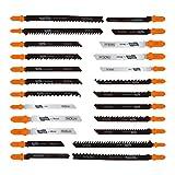Stichsägeblätter, Tacklife 24 Stück AJSB01A Stichsägeblätter, T-Shank Stichsägeblattset mit Gleitlagerrohr, ideal zum Schneiden von Holz, Kunststoff, Metall, Hartholz, Aluminium, NE-Metall