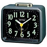 Rhythm(Japan)Metallic Blue Radium Bell Alarm Clock 10.4x8.5x5.6cm