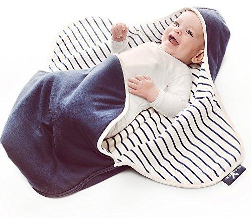 Wallaboo Einschlagdecke Coco, Sehr praktische und Kuschelweiche Babydecke, 100% Baumwolle, 90 x 70 cm, Farbe: Blau Gestreift