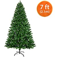 ANSIO Christmas Tree 7ft Artificial Trees Metal Stand 2.1m 100% Virgin Fire Retardant PVC Tips