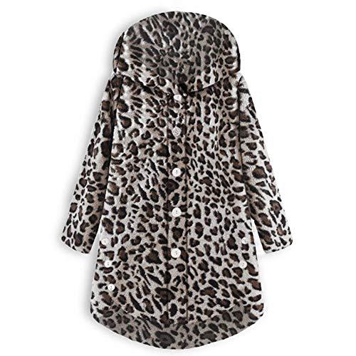 iHENGH Damen Herbst Winter Bequem Mantel Lässig Mode Jacke Frauen Knopf Leopard Mantel Flauschige Schwanz Tops mit Kapuze Lose(Kaffee, L) (Tops Womens Long)