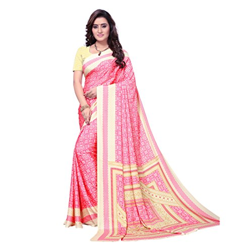 Kanchnar Women's Pink and Beige Crepe Printed Saree (726S1)