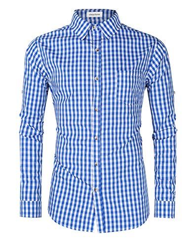 Clearlove Trachtenhemd Herren Hemd Slim Fit Kariert Freizeithemd - für Oktoberfest & Freizeit & Business,Blaues Karo,40