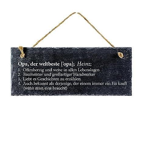 Schiefertafel mit Gravur – Definition bester Opa – Personalisiert mit Wunschnamen – Türschild zum Aufhängen - Ideal als Geschenk für Großväter zu Weihnachten oder zum Geburtstag
