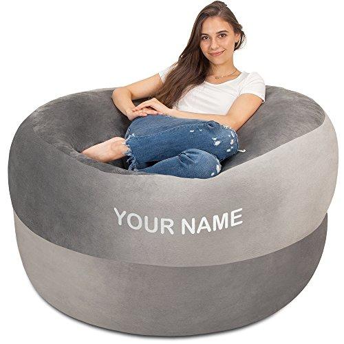 XXL Sitzsack in Silbergrau mit eigenem Namen drauf - Gemütlicher Velour Bezug mit Weicher Memory Schaumstoff Füllung - Großes Sofa, Gaming Sitzkissen Sessel, Sitz Sack für Kinder Teenager Erwachsene