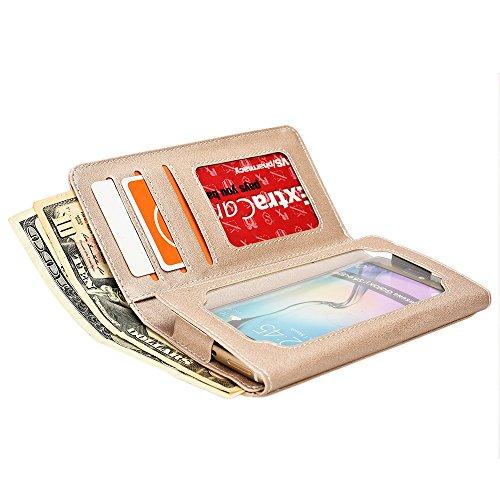 Étui portefeuille Cooper Cases (TM) Infinite universel pour Apple iPhone 6 en marron (couverture en cuir synthétique, protecteur d'écran intégré, emplacements pour cartes, porte-carte d'identité, port Or