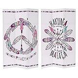 Hogar y Mas Biombo de Madera Con Tela de lienzo. Ideal para Decoración, Diseño Étnico/Peace y Estilo Original 120x2,30x180 cm
