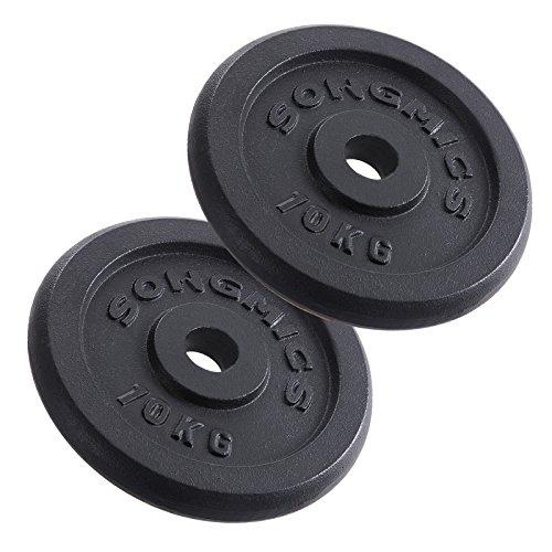 Songmics Disques de Fonte pour Musculation Haltère 2 x 10 kg SYL03T