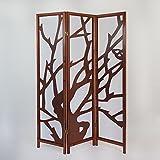 Homestyle4u 3 fach Paravent Raumteiler Holz Trennwand spanische Wand Sichtschutz Braun