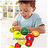 15 Pieces Realistic Sliceable Fruits & Vegetables Cutting Play Kitchen Set Toy With Various Fruits, Vegetables, Knife And Cutting Board For Kids (Multi Color)