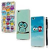 BADALink 3X Huawei Ascend Huawei P8 Lite Hülle TPU Softcase Bunt Cover Etui Owl Eule Vogel Muster...