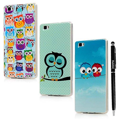 BADALink 3X Huawei Ascend Huawei P8 Lite Hülle TPU Softcase Bunt Cover Etui Owl Eule Vogel Muster Handyhülle Shell+Eingabestift Kapazitive Stylus Pen