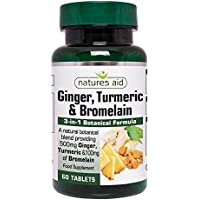 Natures Aid Ginger Turmeric and Bromelain, 60 Tablets (3-in-1 Botanical Formula, 500 mg Ginger, 500 mg Turmeric, 100 mg Bromelain, Made in the UK, Vegan Society Approved)