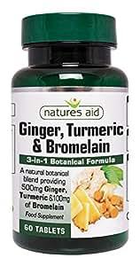 Natures Aid Ginger, Turmeric & Bromelain , 60 comprimés