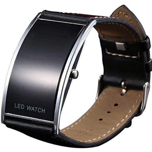 Reloj de pulsera digital con LED de correa ancha, ultrafino, duradero, color negro, unisex