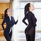 lingerie Femme,Beikoard Femmes Striped sexy Body Zippée à Manches Longues Combinaison de Lingerie Ouverte Entrejambe (free size, Noir) - 7