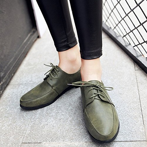 COOLCEPT Femmes Decontractee Appartement Chaussures Lacets Escarpins Chaussures Vert