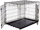 #4: AmazonBasics Double Door Folding Metal Dog Cage with Paw Protector (Large, 42x28x30 inch)