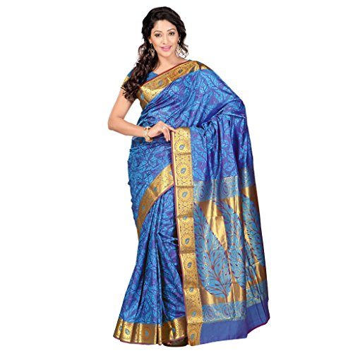 Varkala Silk Sarees Women's Art Silk Kanchipuram Saree With Blouse Piece(JP7104ADV_Turquoise Blue_Free Size)