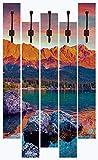 Artland Qualitätsmöbel I Garderobe mit Motiv 5 Holz-Paneele mit Haken 68 x 114 cm Landschaften Berge Foto Rot F1ZA Bunte Sommerszene am Eibsee in Deutschland