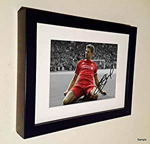 Black and White Kop Celebration Signed Steven Gerrard Liverpool Autograph Photo Picture Frame