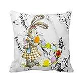 Taie d'oreiller Throw de Pâques - Imprimé coloré - Housse de Coussin en Lin à la Taille - Décorations pour la Maison - Malloom