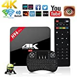 Aoxun Android TV Box Android 7.1 H96 Pro Smart TV Amlogic S912 Octa Core CPU 64BIT Marshmallow 3 + 16G Bluetooth 4.0 Doble banda WIFI 2.4G / 5G Google Reproductores inteligentes con teclado inalámbrico (3 + 16G + keyboard)