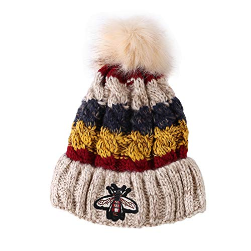 SorJe Womens Girls Winter Knitted Beanie Bobble Hat Pom Pom Caps with Warm  Fleece Lining ( 72ac7b9feb70