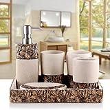DJ Conjunto de baño, juego de accesorios de baño de 6 piezas, juego de baño de colección características, dispensador de jabón, soporte de cepillo de dientes, taza de enjuague, jabón y bandeja , 4