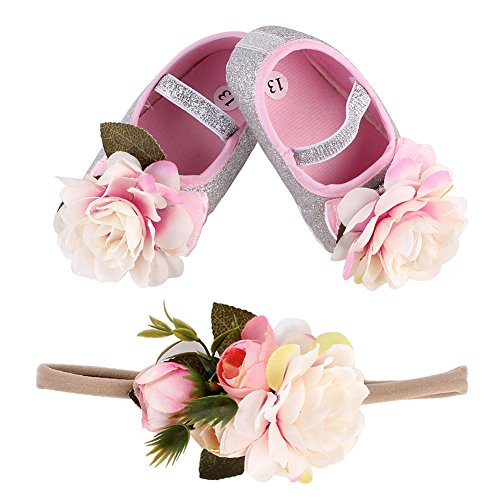 TININNA Bébé Filles douce Semelle Fleurs Bling Baptême Prewalker Chaussures avec Fleur Ensemble Bandeau Cadeau Argent #13